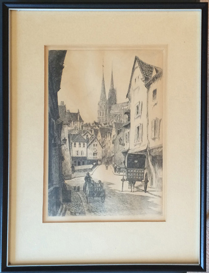 Leopold Robin Chartres Rue du Bourg etching 949-715-0308